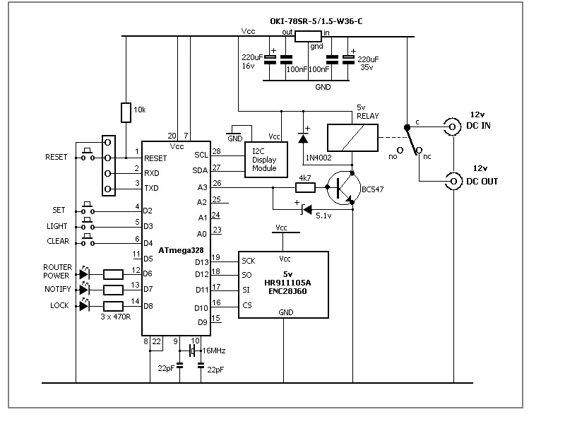 The Circuit Is Straightforward Enough. The Routeru0027s Normal Power Supply Is  Plugged Into The Unit And Regulated To 5 Volts With An OKI 78SR 5 1.5A  Switching ...